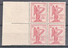 REGNO-1921-Quartina 10 cent Vittoria (120c/120)BDF Coppia sx senza filigrana-MHN