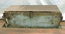 ANTIQUE PRIMITIVE CRATE MADE WOOD TOOL CHEST TRUNK BOX W/ TRAY INDUSTRIAL OHIO