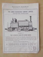 THE LOWCA ENGINEERING COMPANY LTD WHITEHAVEN - CLASS C LOCO ENGINE NARROW GAUGE