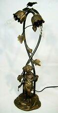 """Auguste Moreau Bronze Art Nouveau Lamp Base Sculpture Signed (No Shades) 18.5"""""""