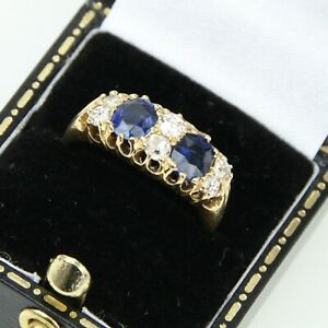 Antique Victorian 18ct Yellow Gold Diamond & Blue Sapphire Ring