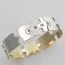 Large Solid Sterling Silver Jigsaw Body Bangle Bracelet 48g Hallmarked 1994