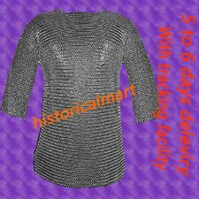 Chainmail 9mm Round Riveted Hubergion Half Sleeve Large Size Shirt
