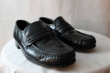 Men's Black Florsheim leather Casual Dress Loafers Slip On Shoe Size 8.5 3E WIDE