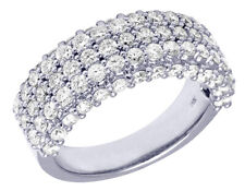 Ladies White Gold Real Diamond 9.5 Mm Engagement Band Ring 3.5Ct