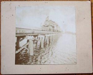 Railroad 1900 Photograph on Board: Train Crossing Water on Bridge - RR