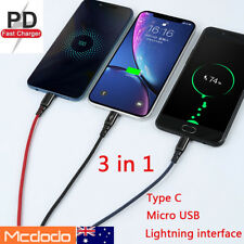 MCDODO 3 in 1 Lightning Micro USB type C Charging Cable iPhone Samsung Universal
