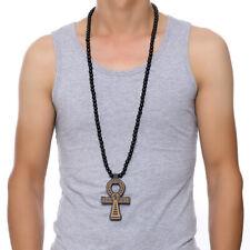 Wooden Ankh Necklace Egyptian Cross Pendant Big Large Beaded For Men Women Black