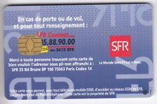 TELECARTE GSM SIM COLLECTOR .. FRANCE SFR GEMPLUS PUCE INVERSE AU V° PUCE UT/TBE