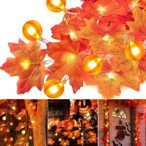 LED Herbst Halloween Lichterkette USB 3M Blättergirlande Weihnachten Garten Deko
