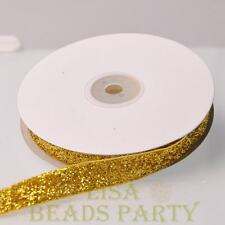 "10 Yards 5/8"" 16mm Sparkle Glitter Velvet Ribbon Sewing Wedding Gold Yellow"