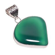 PLATA DE LEY Capa hecho a mano verde Calcedonia Colgante nlg-642 chapado en