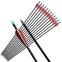 "12Pcs 33"" Fiberglass Arrows Fletching Vanes Archery Hunting Compound Bow Recurve"