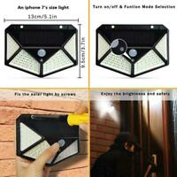 100 LED Solar Power PIR Sensor Motion Wall Light Outdoor Garden Waterproof F5F9