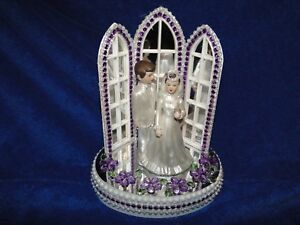 New Chapel Church Mirrored Windows Cake topper with Bride & Groom & Purple Decor