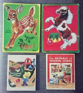 4 Vintage Childs Kids Playskool Artcraft Saalfield Puzzles Farm Animals Nursery