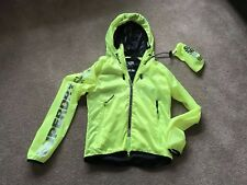 Unisex SUPERDRY Sports Windcheater Hooded Zip Jacket Aluminous Yellow Small