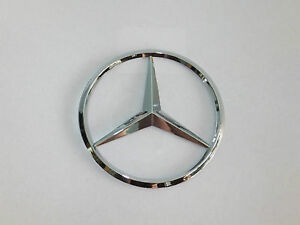 MERCEDES BENZ 90MM CHROME REAR BOOT BADGE EMBLEM ADHESIVE C E S CLK SLK CLASS