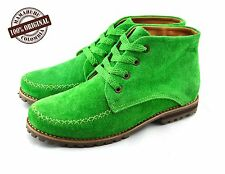 Handmade Women's new Leather ankle boots in Green bright color