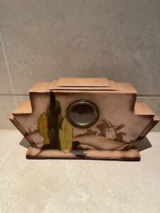 Vintage Art Deco Garniture Mantle Clock German Pottery C:-1930s.