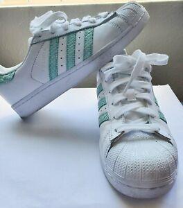 Womens Adidas Superstars shell toe Teal Stripes Sz: 7