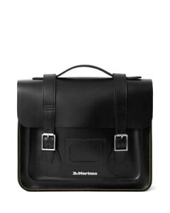 "Dr Martens 13"" Black Kiev Leather Satchel Bag Yellow Stitch"