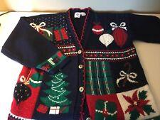 Nut Cracker Sparkly Ugly Christmas Acrylic Cardigan Sweater - Ladies Large