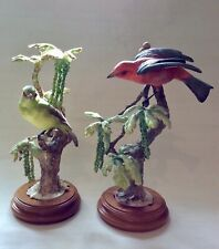 Dorothy Doughty Royal Worcester rare Scarlet Tanager bird on White Oak pair 1956