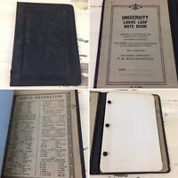 WOOLWORTH NOTE BOOK - Vtg 30s-40s University School Lined Paper & Binder