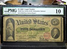 1863 $5 LEGAL TENDER NOTE ✪ PMG VG-10 ✪ FR-63 US L@@K NOW 435 ◢TRUSTED◣