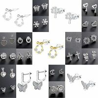 Elegant Women 100% 925 Sterling Silver CZ Ear Stud Crystals Dangle Earrings NEW