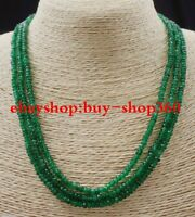"""NATURAL 3 Rows 2X4mm FACETED GREEN EMERALD ABACUS BEADS NECKLACE17-19"""""""