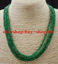 NATURAL 3 Rows 2X4mm FACETED GREEN EMERALD ABACUS BEADS NECKLACE17-19""