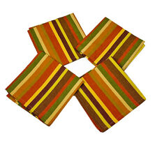 Splendor Striped Brown Orange Green Fall Colors Cotton Dinner Napkins Set of 4