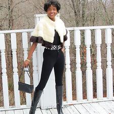 Vtg designer short cream white mink fur cape for coat jacket stroller S-M 0-10
