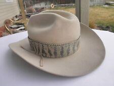 Vtg STETSON COWBOY HAT 4X BEAVER SIZE 7  WESTERN USA w/ real rattlesnake Band