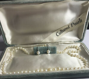 "vintage cultured pearl necklace 18"" And Earrings Screwback Set 10k Whit Gold"