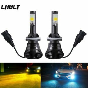 2x Dual Color 880 881 LED Bulb Car Fog Light DRL Driving Yellow Ice Blue 180W