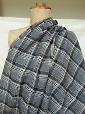 Grey beige black check plaid plain weave mid weight cotton fabric 2 m x 144 cm