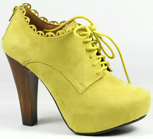 Yellow Faux Suede Lace Up High Chunky Heel Platform Fashion Ankle Boot Qupid