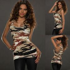 Women Casual Army Camo Camouflage Tank Top Sleeveless Racer back Shirt