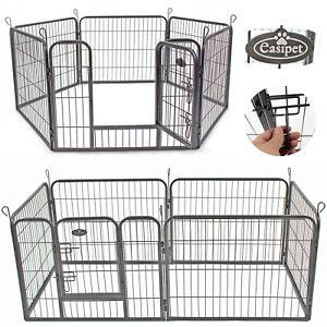 Pet Play Run Cage Dog Puppy Pen Rabbit Guinea Pig Black Metal Enclosure Easipet