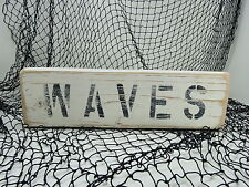 12 INCH WOOD HAND PAINTED WAVES SIGN NAUTICAL SEAFOOD (#S759)