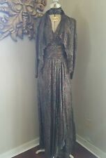 CHANEL COUTURE VTG 70's SILK DISCO GOLD PLUNGE PAISLEY SCARF L MAXI DRESS XS S