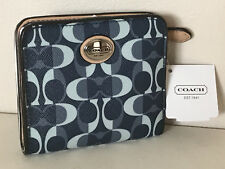 NEW! COACH PEYTON DREAM C SMALL CLUTCH WALLET IN DENIM BLUE / TAN $98 SALE