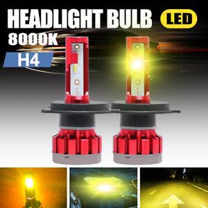 Pair H4/9003 CSP LED Headlight High Low Dual Beam 120W 32000LM 3000K Yellow Kits