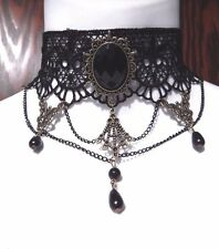 TIERED CHAIN REGAL BLACK LACE COLLAR choker necklace beaded gothic steampunk J2