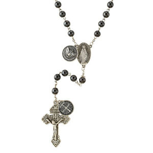 Navy Armed Forces Military Hematite Rosary with Saint Benedict Medal