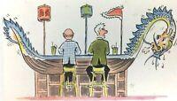 Postcard  Hong Kong Hilton Hotel The Dragon Boat Bar Posted Vintage 60s 1960
