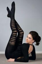 80 DENIER Fashion Black Ripped Tights Punk Funky Winter Wear S M L Hosiery uk